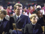Robert F Kennedy and Sons Attending Outdoor Mass Celebrated by Pope Paul VI at Yankee Stadium