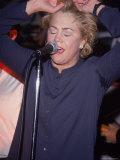 Actress Kathleen Turner Singing with Her Husband&#39;s Band Named the Suits at the Harley Davidson Cafe