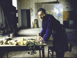 Painter Balthus at Work in His Studio in the Chateau de Chassy