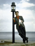 Actor Art Carney Leaning Against a Lamp Post