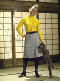 Actress Doris Day Wearing Midi Length Skirt  Petting Dog