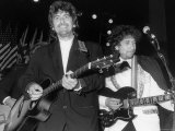 Musicians George Harrison and Bob Dylan Performing at Rock and Roll Hall of Fame