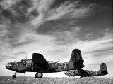Two Camouflaged A-20 Attack Planes Sitting on Airstrip at American Desert Air Base  WWII