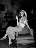 "Katharine Hepburn in chair Smoking Cigarette in Scene from Broadway Show ""The Philadelphia Story"""