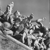 Naked Bodies piled high of Prisoners Who Died Recently Outside Buchenwald Concentration Camp
