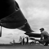Sac's B-36 Bomber Plane Getting a Thorough Inspection of Its Engines by Maintenance Mechanics