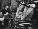 Newspaper Founder Robert S Abbott Checking Printing Press at the African American Newspaper