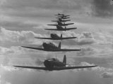 Nine Army Air Corps Bi-Place Pursuit Planes Flying in Formation with a Maximum Speed of 300 MPH