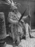 Bope Mabinshe  King of Bakuba Tribe  Dressed in Heavily Embroidered Tribal Costume  Holding a Spear