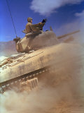 American M4 Sherman Tank Racing in Desert Fighting Between US and German Forces  El Guettar Valley