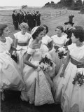 Jacqueline Bouvier  Bride of Sen John F Kennedy  Wearing Gorgeous Off Shoulder Wedding Dress