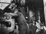 Man Working Newspaper Printing Press at Chicago Defender While Founder Robert S Abbott Checks Copy
