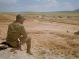 US General George S Patton Watches Battle Between German and American Forces in El Guettar Valley
