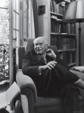 Swiss Psychiatrist Dr Carl Jung Relaxing in an Easy Chair in His Library at Home