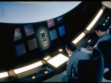 "Actors Keir Dullea and Gray Lockwood Sitting at Console in Scene of ""2001: A Space Odyssey"""