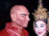 "Actors Yul Brynner and Wife Kathy in Make Up and Costume for the Musical ""The King and I"""