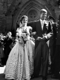 Jacqueline Bouvier in Gorgeous Battenberg Wedding Dress with Her Husband Sen John Kennedy