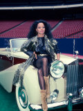 Singer Diana Ross  Sitting on Hood of Rolls Royce