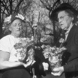 Two Members of an Upper Class Ladies Garden Club at Meeting on the Grounds of a Member