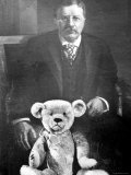Teddy Bear Placed Before the Formal Portrait of Pres Theodore Roosevelt