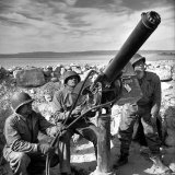 Air Force Soldiers Manning Anti Aircraft Gun at Base During Allied Campaign in North Africa  WWII
