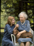 Activist for the Disabled  Helen Keller  with Pet Dog in Her Lap as She Meets Actress Patty Duke