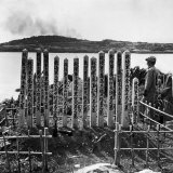 Smoke Rises from US Navy Shelling of Sesoko Island next to Graves of Japanese Soldiers