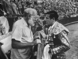 Spanish Matador Antonio Ordonez with Friend  Author Ernest Hemingway in Arena Before Bullfight