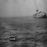 "Ocean Liner ""Andrea Doria"" Sinks After Colliding with Swedish Liner ""Stockholm"" in Nantucket Island"