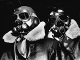 Pilots of American Bomber Command Wearing High Altitude Clothes  Oxygen Masks and Flight Goggles