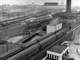 Looking Down on Railroad Yard at Union Station Showing Roundhouse Turntable