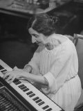 Harpsichordist Wanda Landowska  at Home Playing the Harpsichord