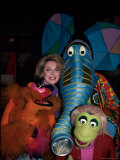 Relationships Expert Dr Joyce Brothers with Puppets from Television Series &quot;Sesame Street&quot;