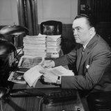 Director of the FBI J Edgar Hoover Sitting at His Desk in His Office