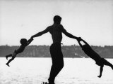 Silhouette of Bare Chested Ballet Dancer Jacque D'Amboise with His Sons Christopher and George