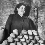 Italian Woman Selling Bread in Her Black Market Street Stall on the Tor Di Nono