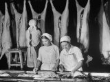 Russian Women Working as Butchers in Abattoir While Men Are Off to War  at Mikoyan Meat Combine