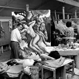 "Thomas Hart Benton Working on His Painting ""Rape of Persephone"" in His Studio Using Live Nude Model"