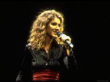 "Canadian Pop Music Star Celine Dion Singing Into Microphone During ""Hirshfeld Drawing"" Function"