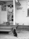 Boxer Joe Walcott Standing Outside Doorway of Building at Training Camp Aluminium par Tony Linck