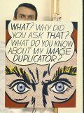 Roy Lichtenstein Holding His Painting &quot;Image Duplicator&quot;