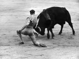 Matador Julian Marin and Bull in the Ring for a Bullfight During the Fiesta de San Ferman