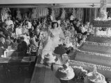 At Palumbo's Cafe  Bride Mrs Salvatore Cannella Walks Onto Stage  Facing a Revolving Cake Display