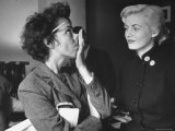 Miss Sweden Anita Ekberg  Model From Malmo  Amusedly Watching Eileen Ford Demonstrate the Nose Tilt