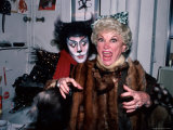 "Comedienne Phyllis Diller and Actor Timothy Scott Backstage at His Broadway Musical ""Cats"""