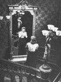 "Dorothy McGuire Gazing Into Mirror  Hands at Throat  on Staircase in Scene from ""Spiral Staircase"""