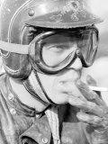Actor Steve McQueen in Helmet and Goggles During 500 Mi Motorbike Race Across Mojave Desert