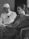 India's Prime Minister Jawaharlal Nehru with Daughter Indira Gandhi at the Asia African Conference