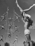 Student Circus Performers David Donnelly and Dolores Dugid Practicing Acrobatics