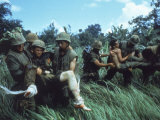 Members of 1st Marine Division Carrying Wounded During Firefight During Vietnam War South Vietnam